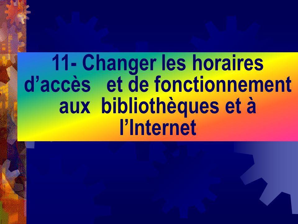 11- Changer les horaires daccès et de fonctionnement aux bibliothèques et à lInternet