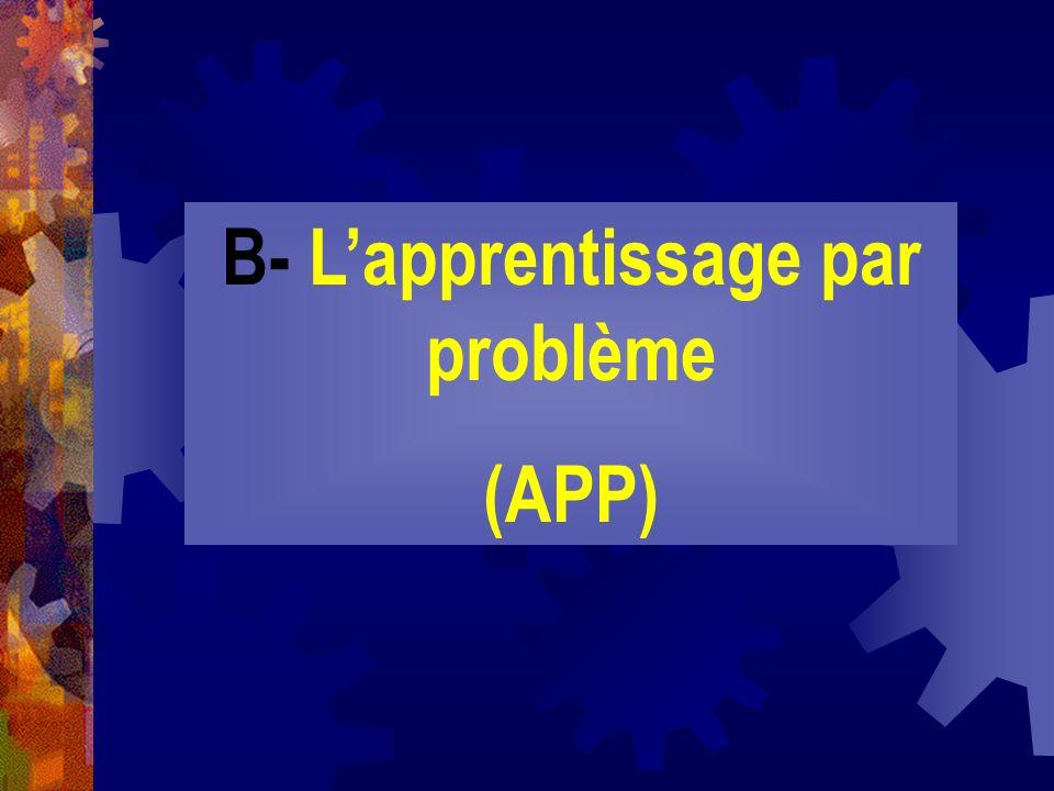 B- Lapprentissage par problème (APP)