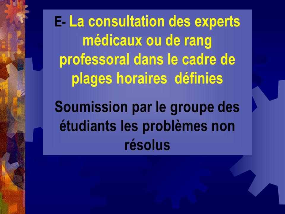 E- La consultation des experts médicaux ou de rang professoral dans le cadre de plages horaires définies Soumission par le groupe des étudiants les pr