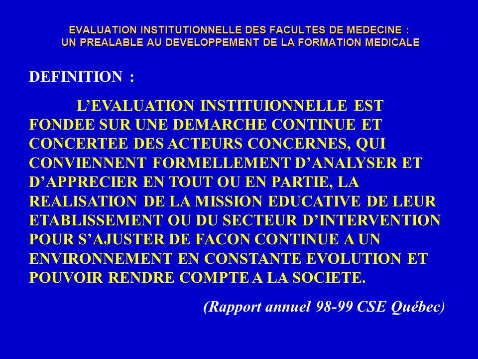 EVALUATION INSTITUTIONNELLE DES FACULTES DE MEDECINE : UN PREALABLE AU DEVELOPPEMENT DE LA FORMATION MEDICALE LE BUT DE LAUTO-EVALUATION INSTITUTIONNELLE EST DE « DELIMITER, OBTENIR, INTERPRETER, FOURNIR » DES INFORMATIONS AUX CONCERNES AFIN DE « PREVOIR, DECIDER, AGIR OU MEME REAGIR EN TOUTE CONSCIENCE » (René COUDRAY 1991)