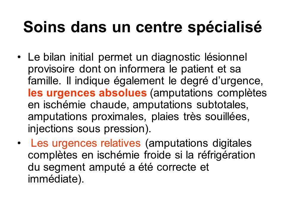 Soins dans un centre spécialisé Le bilan initial permet un diagnostic lésionnel provisoire dont on informera le patient et sa famille. Il indique égal