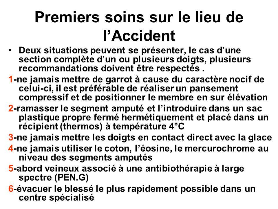 Premiers soins sur le lieu de lAccident Deux situations peuvent se présenter, le cas dune section complète dun ou plusieurs doigts, plusieurs recomman