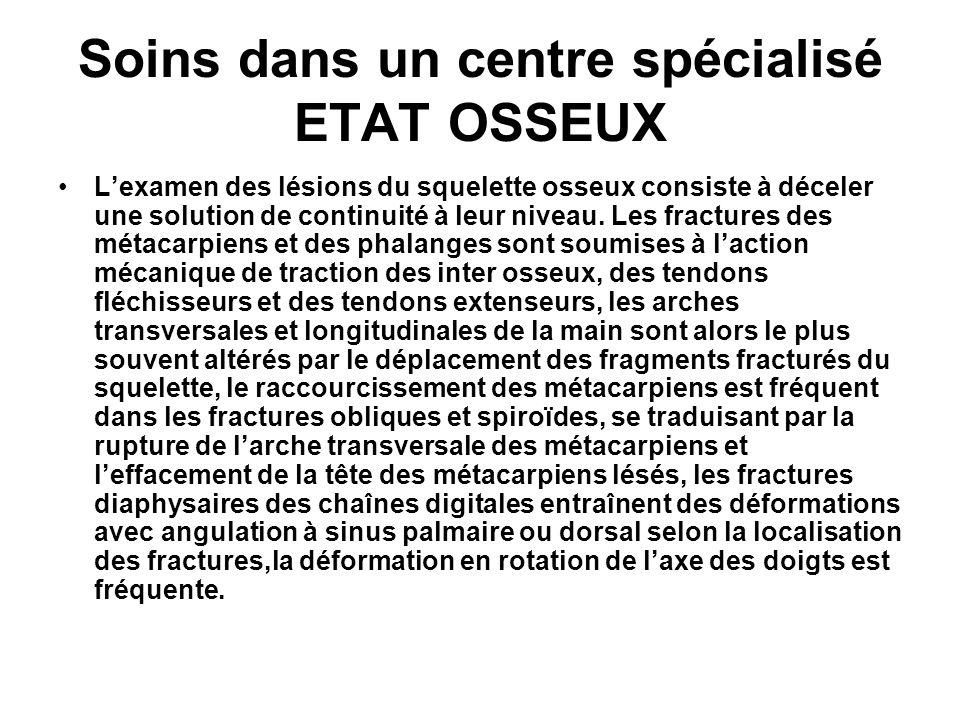Soins dans un centre spécialisé ETAT OSSEUX Lexamen des lésions du squelette osseux consiste à déceler une solution de continuité à leur niveau. Les f
