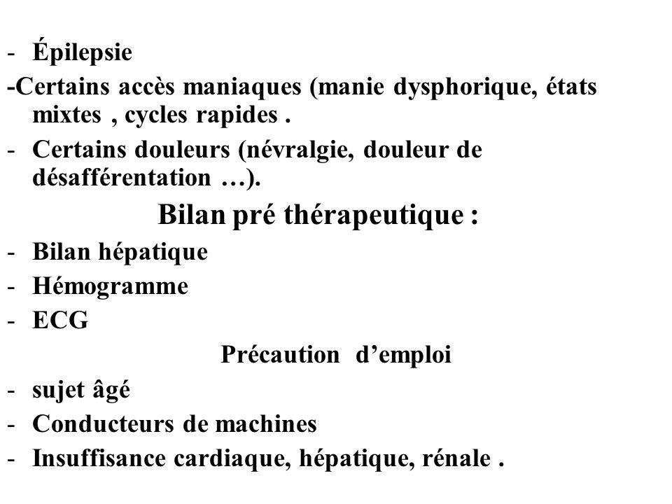 -Épilepsie -Certains accès maniaques (manie dysphorique, états mixtes, cycles rapides.