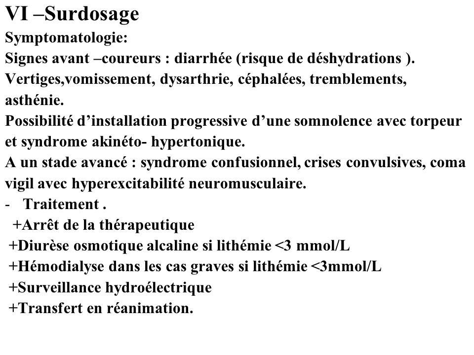 VI –Surdosage Symptomatologie: Signes avant –coureurs : diarrhée (risque de déshydrations ).