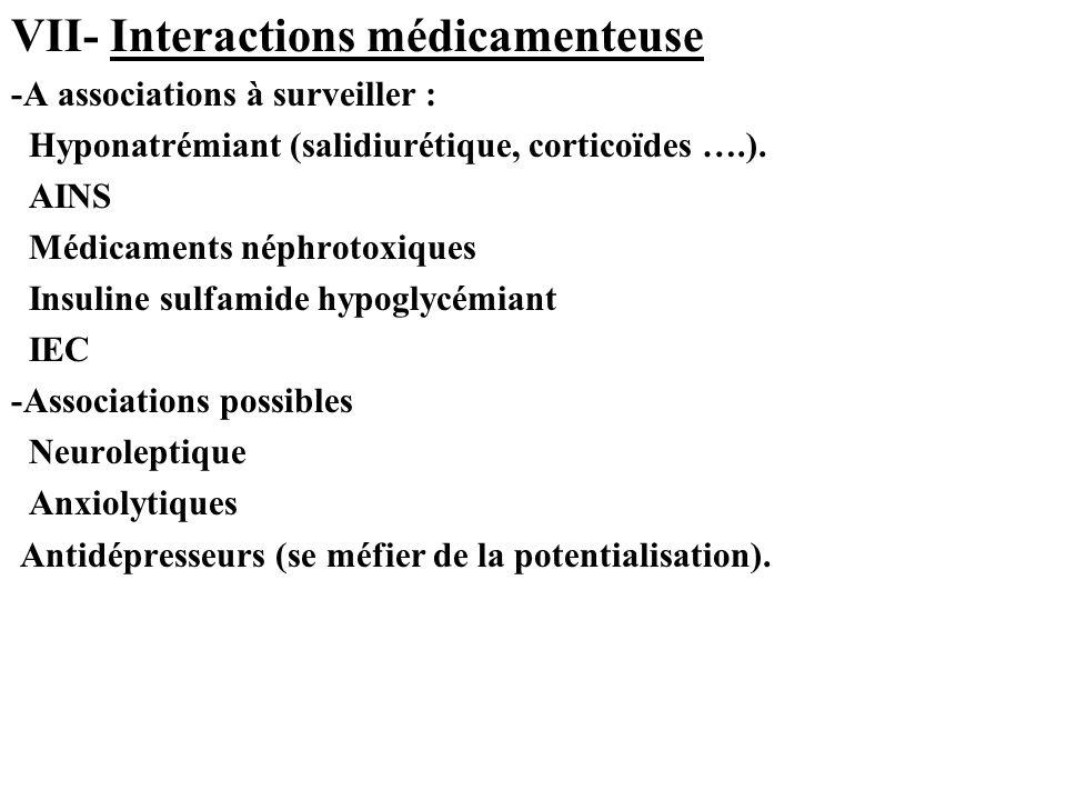 VII- Interactions médicamenteuse -A associations à surveiller : Hyponatrémiant (salidiurétique, corticoïdes ….).