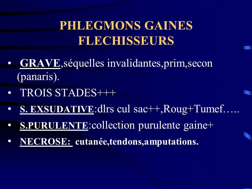 PHLEGMONS GAINES FLECHISSEURS GRAVE,séquelles invalidantes,prim,secon (panaris). TROIS STADES+++ S. EXSUDATIVE :dlrs cul sac++,Roug+Tumef….. S.PURULEN