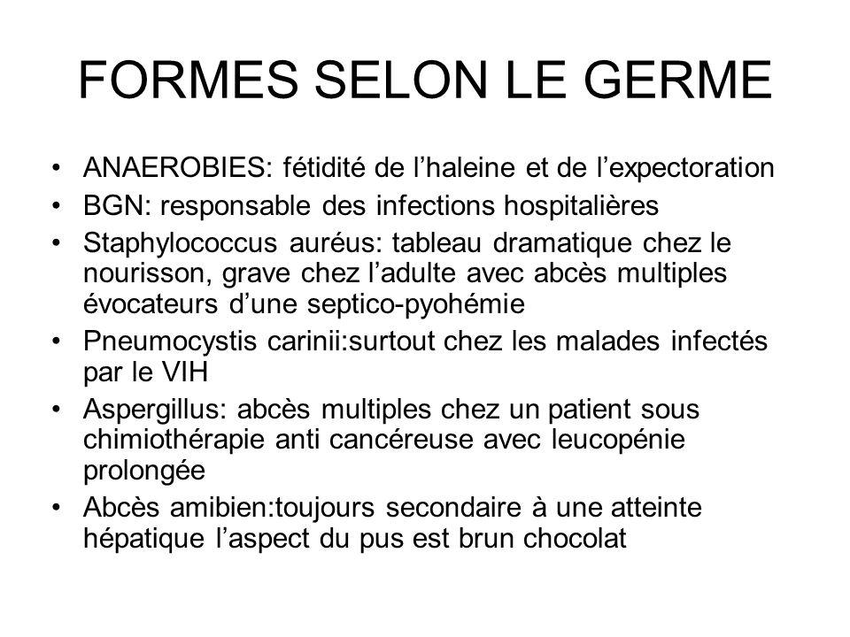 FORMES SELON LE GERME ANAEROBIES: fétidité de lhaleine et de lexpectoration BGN: responsable des infections hospitalières Staphylococcus auréus: table