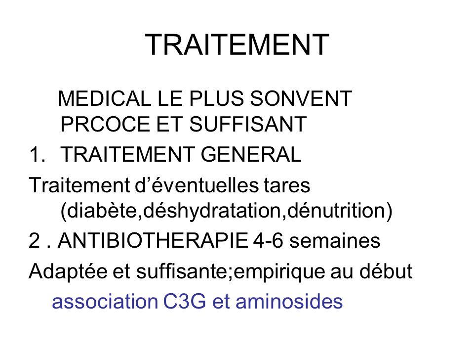 TRAITEMENT MEDICAL LE PLUS SONVENT PRCOCE ET SUFFISANT 1.TRAITEMENT GENERAL Traitement déventuelles tares (diabète,déshydratation,dénutrition) 2. ANTI