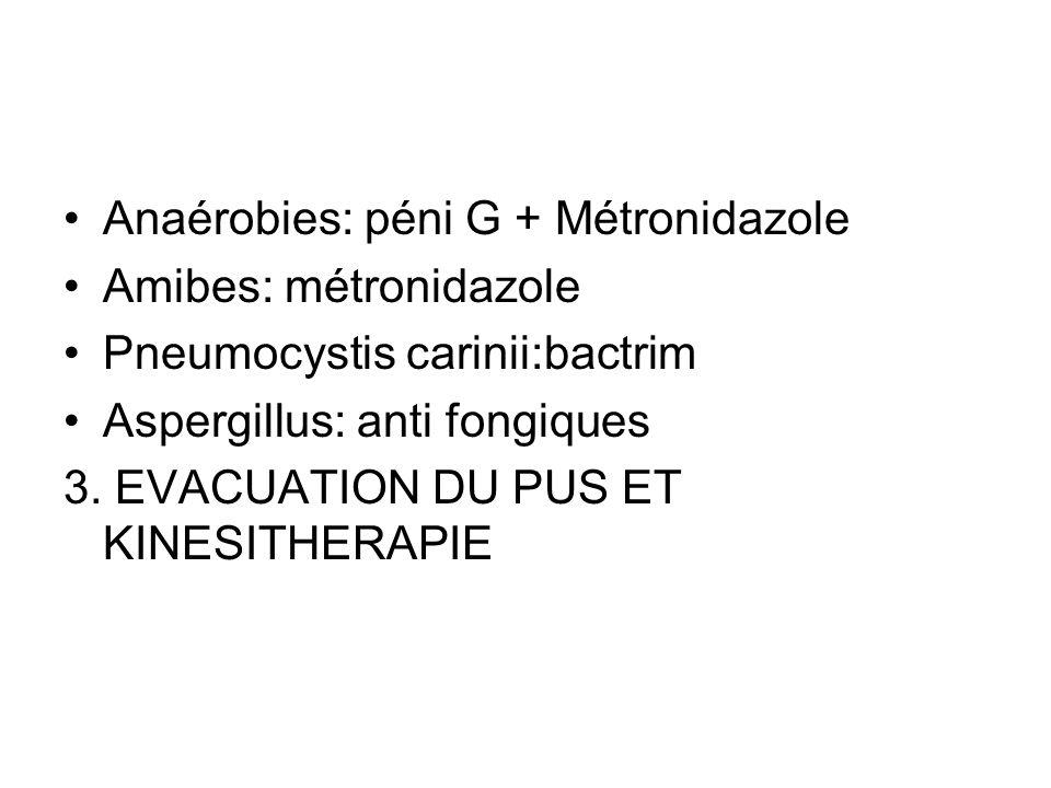 Anaérobies: péni G + Métronidazole Amibes: métronidazole Pneumocystis carinii:bactrim Aspergillus: anti fongiques 3. EVACUATION DU PUS ET KINESITHERAP