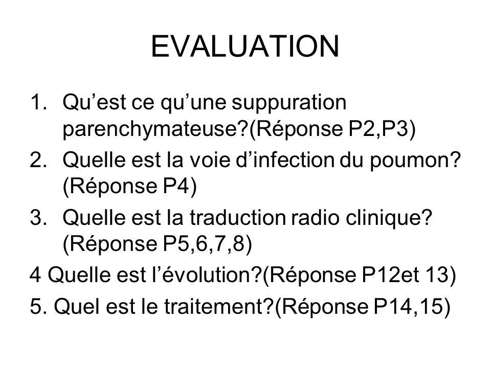 EVALUATION 1.Quest ce quune suppuration parenchymateuse?(Réponse P2,P3) 2.Quelle est la voie dinfection du poumon? (Réponse P4) 3.Quelle est la traduc
