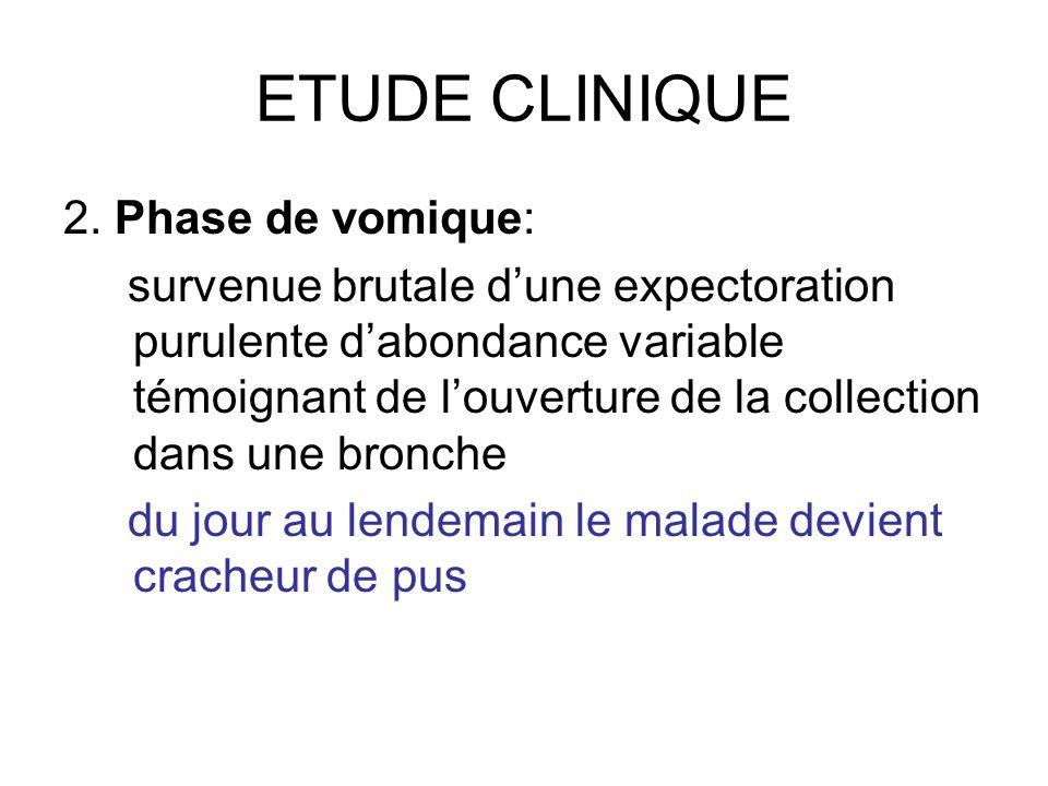ETUDE CLINIQUE 2. Phase de vomique: survenue brutale dune expectoration purulente dabondance variable témoignant de louverture de la collection dans u