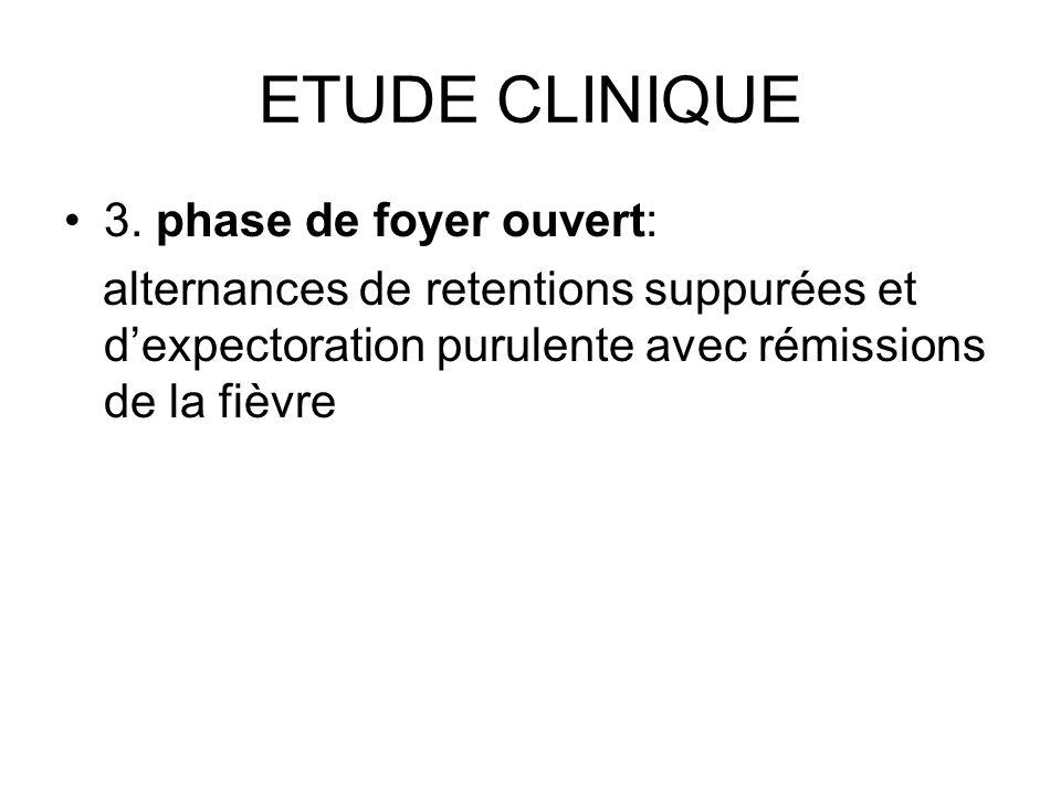 ETUDE CLINIQUE 3. phase de foyer ouvert: alternances de retentions suppurées et dexpectoration purulente avec rémissions de la fièvre