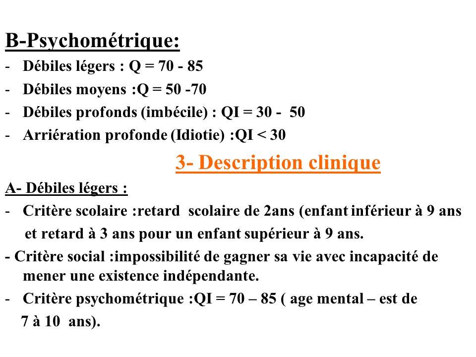 B-Psychométrique: -Débiles légers : Q = 70 - 85 -Débiles moyens :Q = 50 -70 -Débiles profonds (imbécile) : QI = 30 - 50 -Arriération profonde (Idiotie