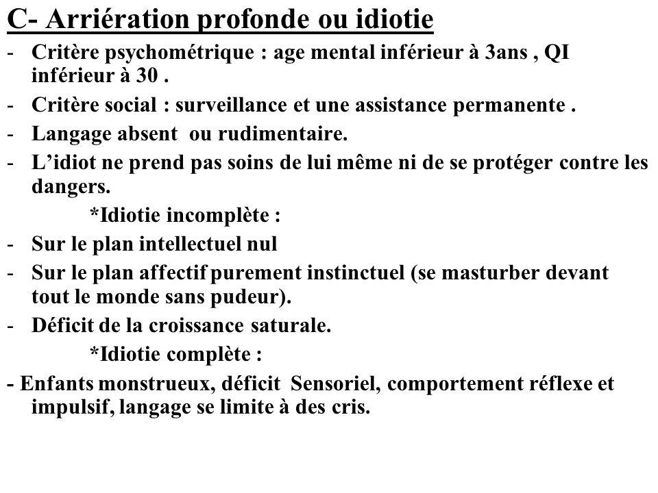 C- Arriération profonde ou idiotie -Critère psychométrique : age mental inférieur à 3ans, QI inférieur à 30. -Critère social : surveillance et une ass