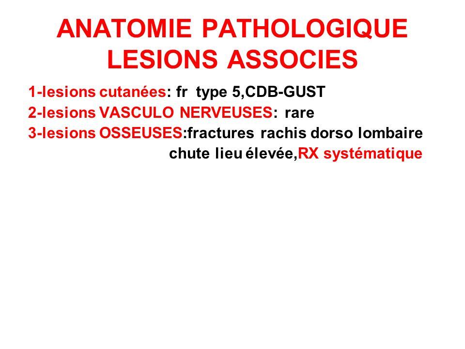 ANATOMIE PATHOLOGIQUE LESIONS ASSOCIES 1-lesions cutanées: fr type 5,CDB-GUST 2-lesions VASCULO NERVEUSES: rare 3-lesions OSSEUSES:fractures rachis do