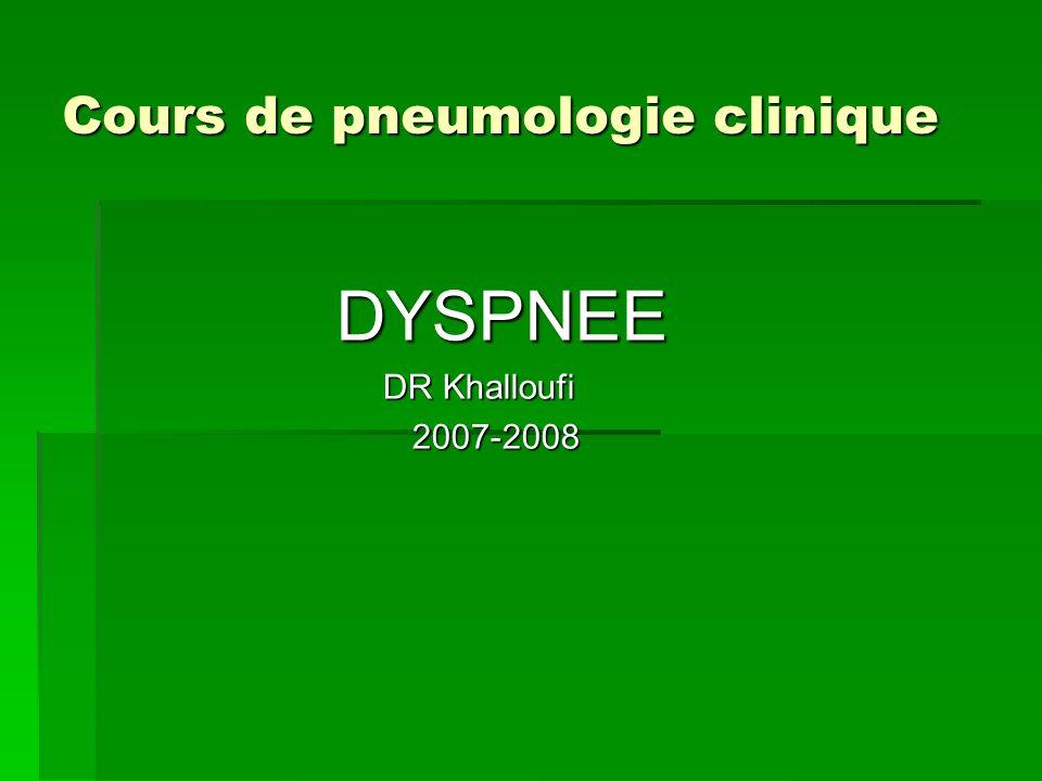 Cours de pneumologie clinique Cours de pneumologie clinique DYSPNEE DYSPNEE DR Khalloufi DR Khalloufi 2007-2008 2007-2008