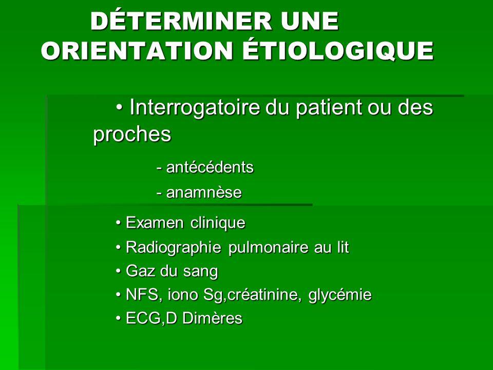 DÉTERMINER UNE ORIENTATION ÉTIOLOGIQUE DÉTERMINER UNE ORIENTATION ÉTIOLOGIQUE Interrogatoire du patient ou des proches Interrogatoire du patient ou de