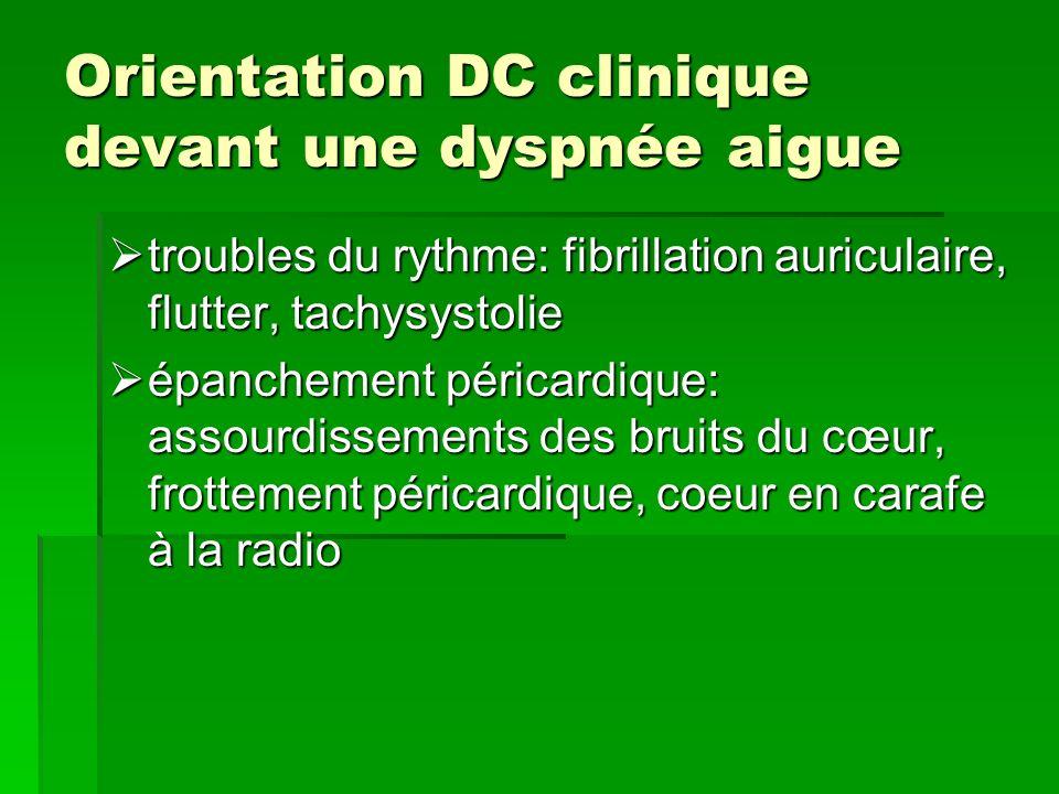 Orientation DC clinique devant une dyspnée aigue troubles du rythme: fibrillation auriculaire, flutter, tachysystolie troubles du rythme: fibrillation