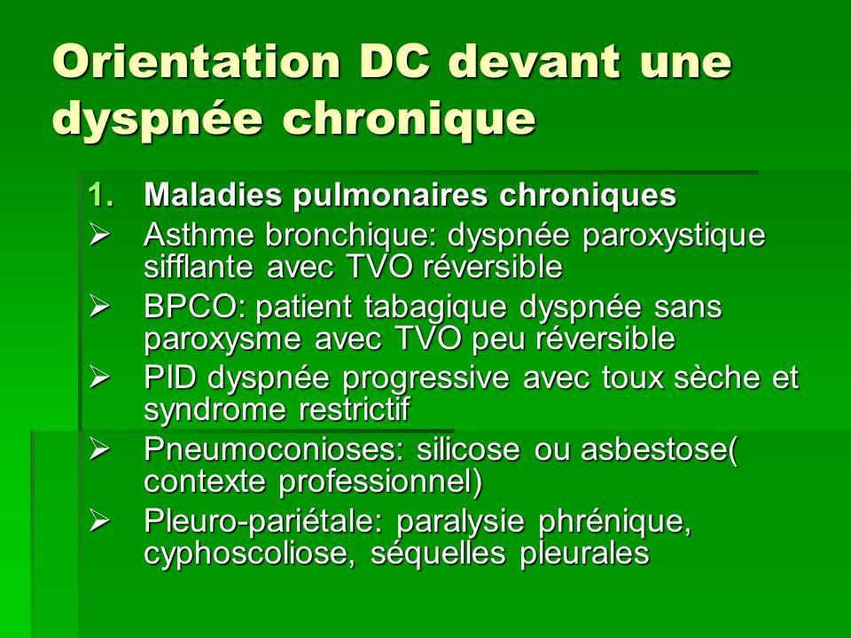 Orientation DC devant une dyspnée chronique 1.Maladies pulmonaires chroniques Asthme bronchique: dyspnée paroxystique sifflante avec TVO réversible As