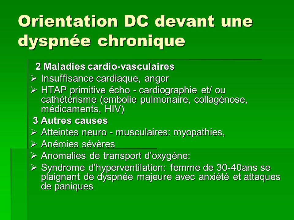 Orientation DC devant une dyspnée chronique 2 Maladies cardio-vasculaires 2 Maladies cardio-vasculaires Insuffisance cardiaque, angor Insuffisance car