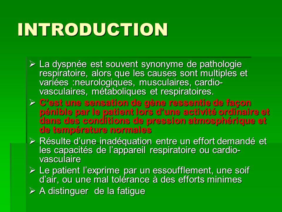 INTRODUCTION La dyspnée est souvent synonyme de pathologie respiratoire, alors que les causes sont multiples et variées :neurologiques, musculaires, c