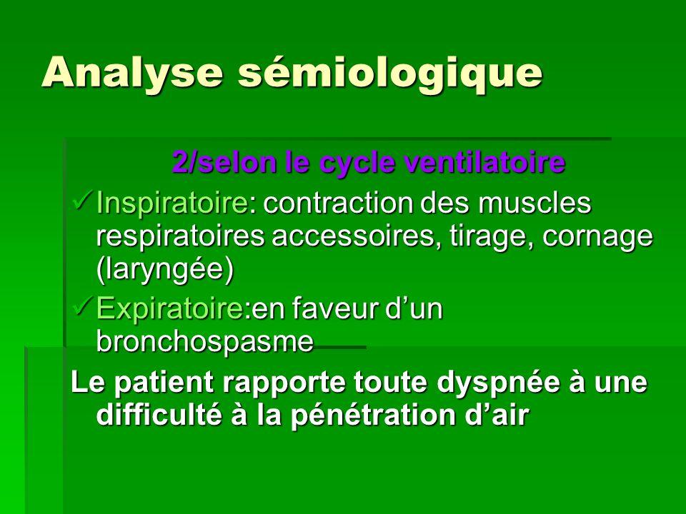 Analyse sémiologique 2/selon le cycle ventilatoire 2/selon le cycle ventilatoire Inspiratoire: contraction des muscles respiratoires accessoires, tira