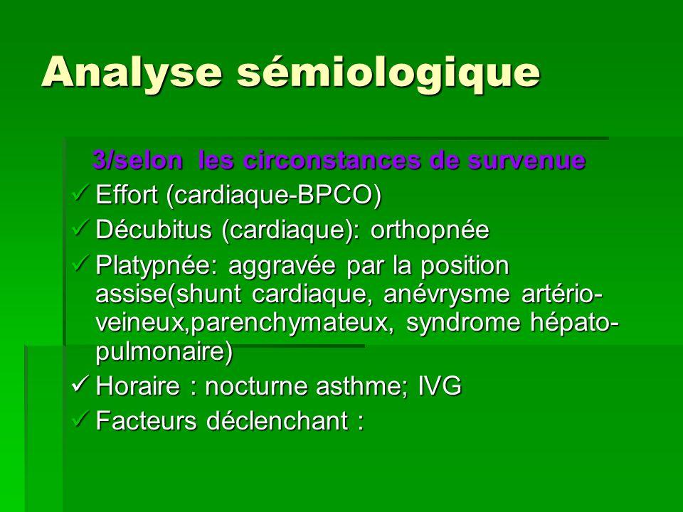 Analyse sémiologique 3/selon les circonstances de survenue 3/selon les circonstances de survenue Effort (cardiaque-BPCO) Effort (cardiaque-BPCO) Décub