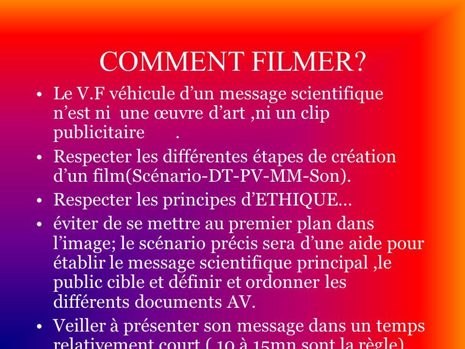 COMMENT FILMER? Le V.F véhicule dun message scientifique nest ni une œuvre dart,ni un clip publicitaire. Respecter les différentes étapes de création