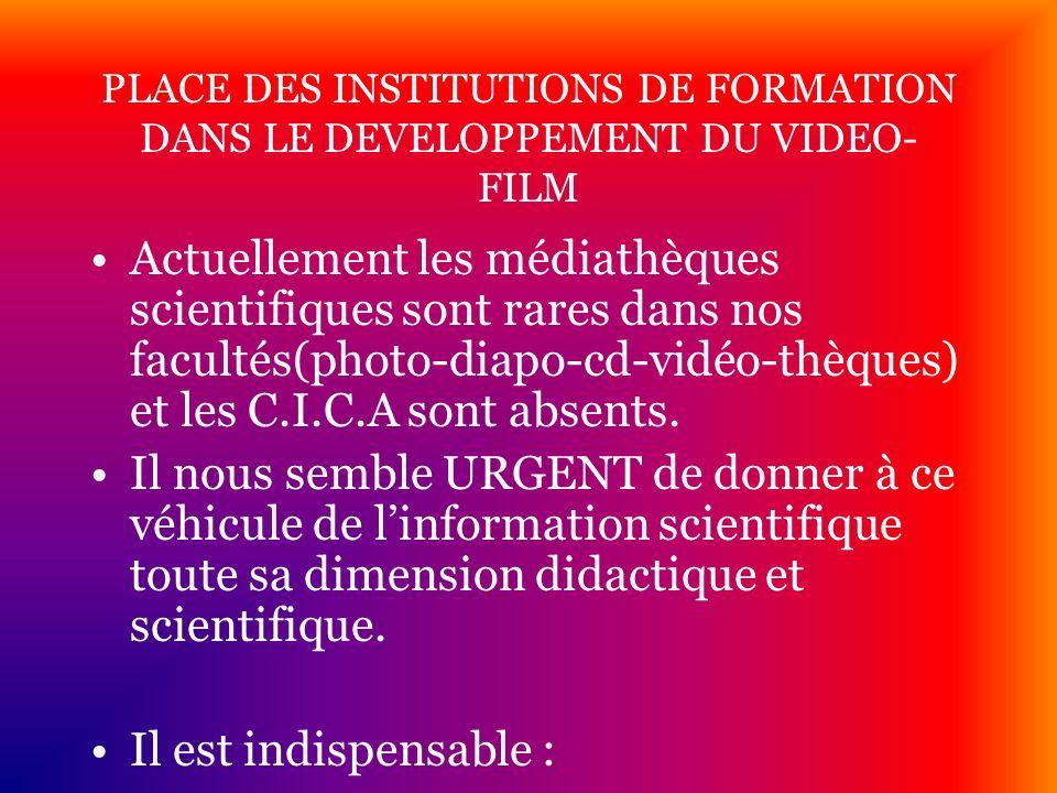 PLACE DES INSTITUTIONS DE FORMATION DANS LE DEVELOPPEMENT DU VIDEO- FILM Actuellement les médiathèques scientifiques sont rares dans nos facultés(phot