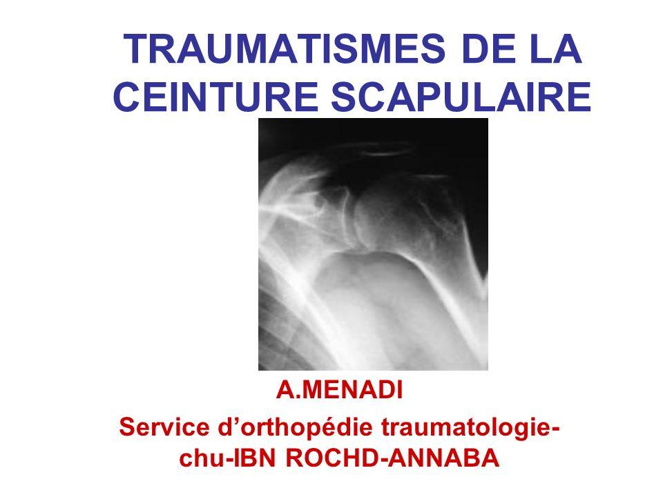TRAUMATISMES DE LA CEINTURE SCAPULAIRE Luxation épaule +++ Fr clavicule ++ Fr.es.humérus + Fr omoplate+- Luxation acromio claviculaire+- Luxation sterno claviculaire +-