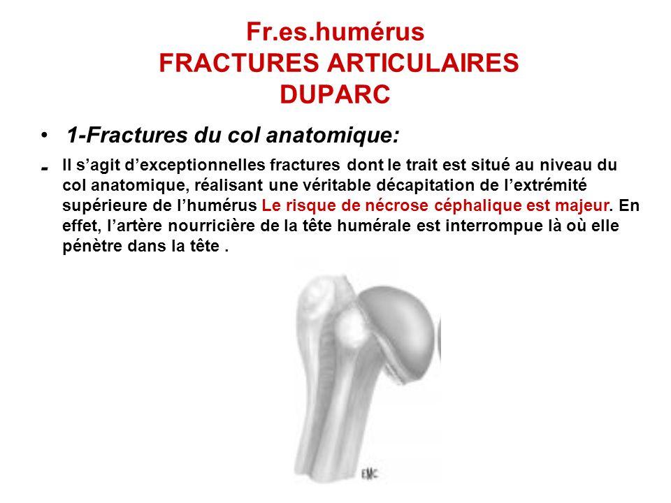 Fr.es.humérus FRACTURES ARTICULAIRES DUPARC 1-Fractures du col anatomique: - Il sagit dexceptionnelles fractures dont le trait est situé au niveau du