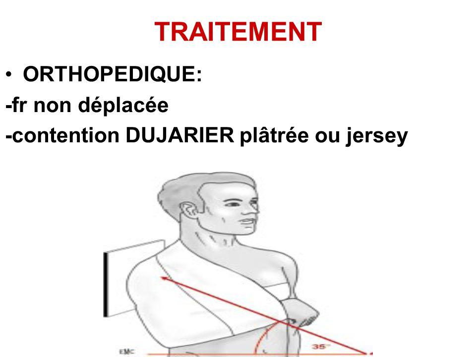 TRAITEMENT ORTHOPEDIQUE: -fr non déplacée -contention DUJARIER plâtrée ou jersey
