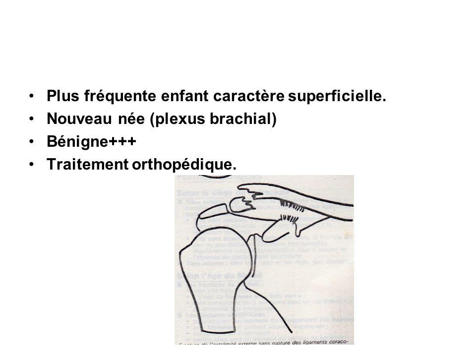 Plus fréquente enfant caractère superficielle. Nouveau née (plexus brachial) Bénigne+++ Traitement orthopédique.