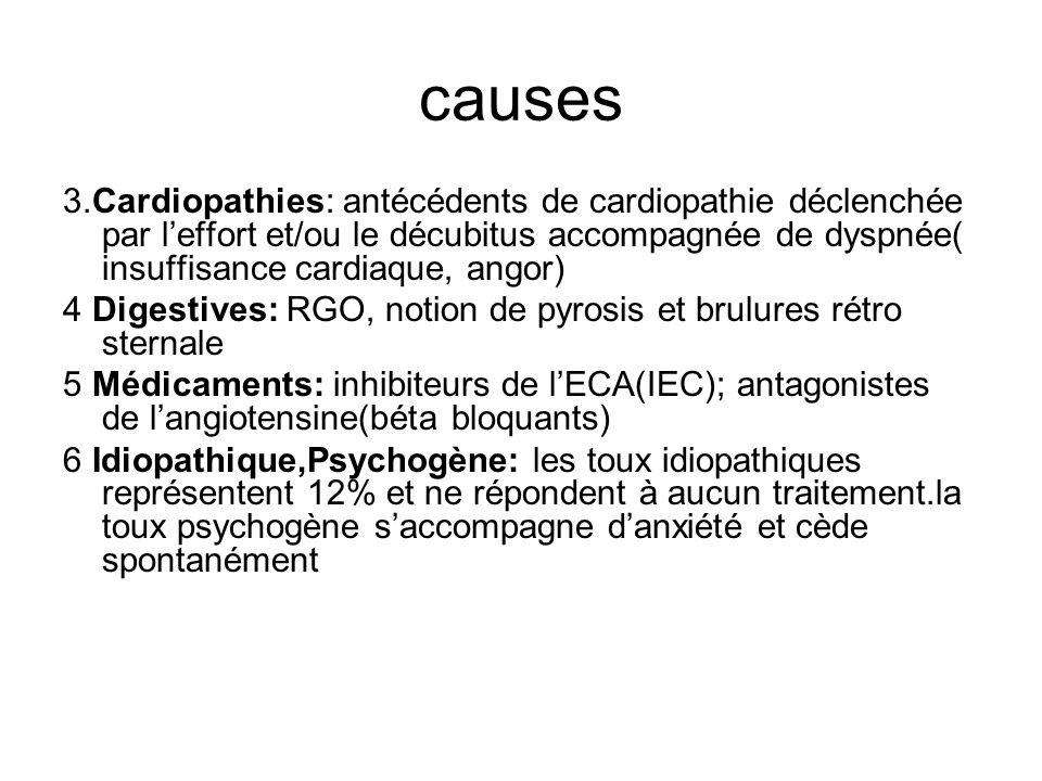 causes 3.Cardiopathies: antécédents de cardiopathie déclenchée par leffort et/ou le décubitus accompagnée de dyspnée( insuffisance cardiaque, angor) 4