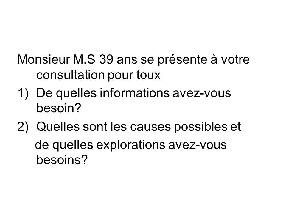 Monsieur M.S 39 ans se présente à votre consultation pour toux 1)De quelles informations avez-vous besoin? 2)Quelles sont les causes possibles et de q