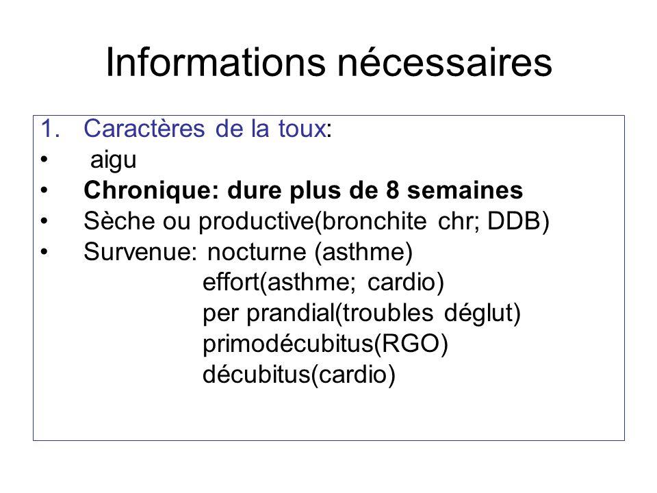 Informations nécessaires 1.Caractères de la toux: aigu Chronique: dure plus de 8 semaines Sèche ou productive(bronchite chr; DDB) Survenue: nocturne (