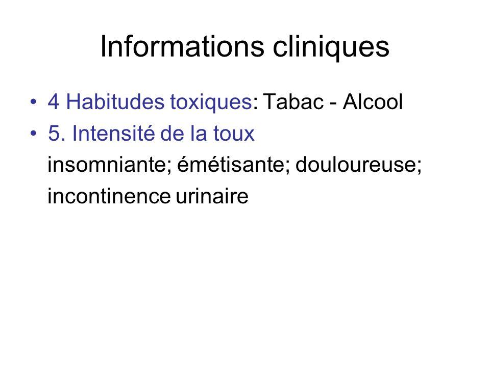 Informations cliniques 4 Habitudes toxiques: Tabac - Alcool 5. Intensité de la toux insomniante; émétisante; douloureuse; incontinence urinaire