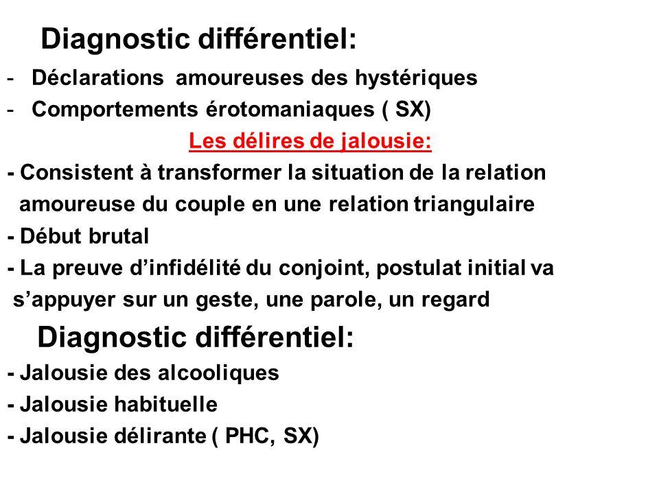 Diagnostic différentiel: -Déclarations amoureuses des hystériques -Comportements érotomaniaques ( SX) Les délires de jalousie: - Consistent à transfor