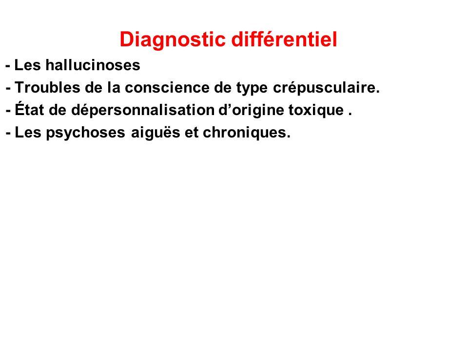 Diagnostic différentiel - Les hallucinoses - Troubles de la conscience de type crépusculaire. - État de dépersonnalisation dorigine toxique. - Les psy