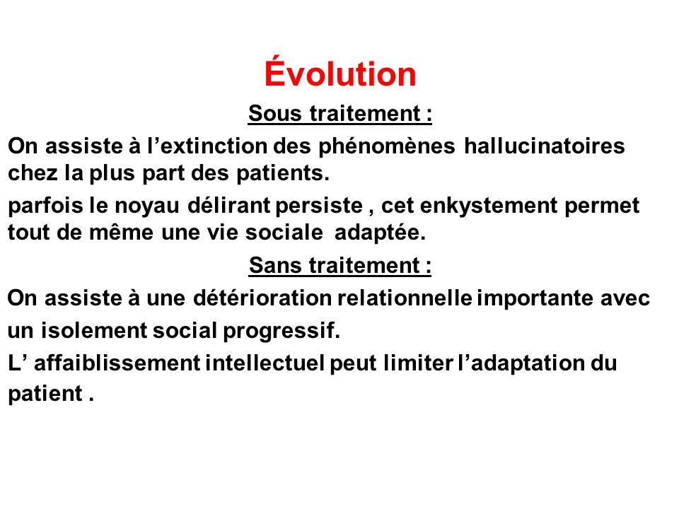 Évolution Sous traitement : On assiste à lextinction des phénomènes hallucinatoires chez la plus part des patients. parfois le noyau délirant persiste