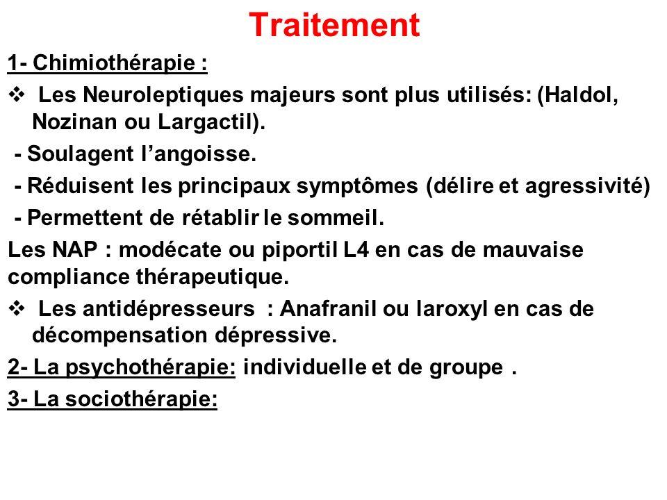 Traitement 1- Chimiothérapie : Les Neuroleptiques majeurs sont plus utilisés: (Haldol, Nozinan ou Largactil). - Soulagent langoisse. - Réduisent les p