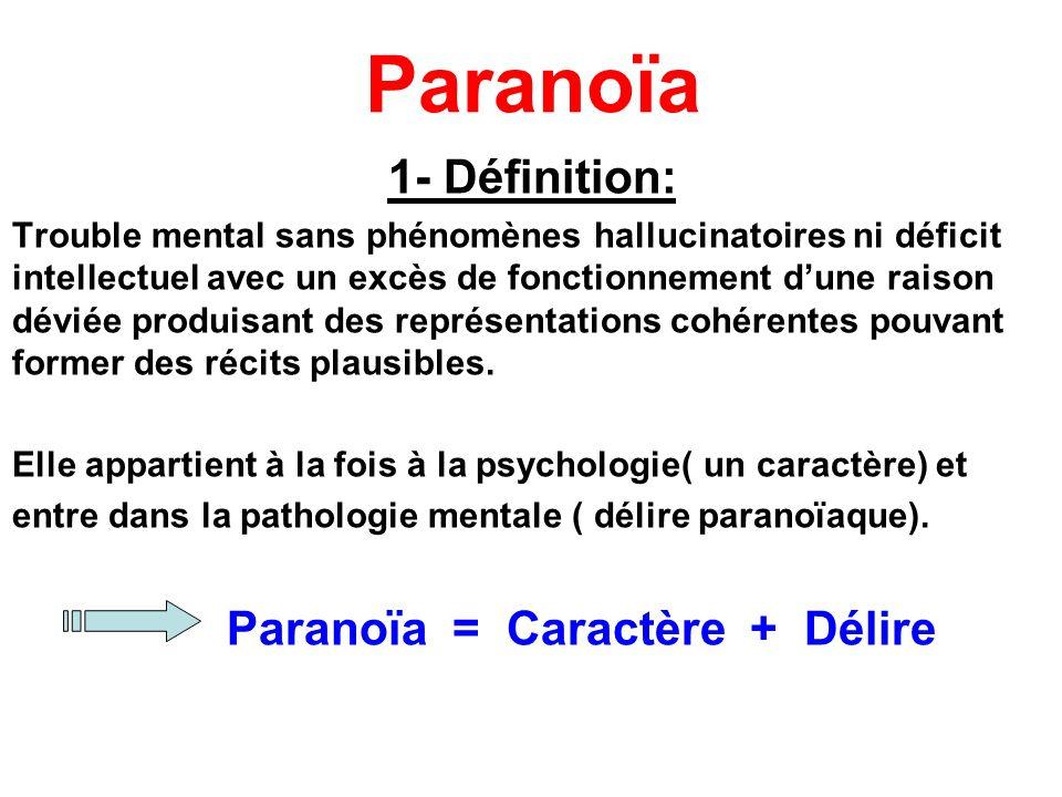 Paranoïa 1- Définition: Trouble mental sans phénomènes hallucinatoires ni déficit intellectuel avec un excès de fonctionnement dune raison déviée prod