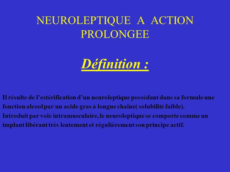 NEUROLEPTIQUE A ACTION PROLONGEE Définition : Il résulte de lestérification dun neuroleptique possédant dans sa formule une fonction alcool par un aci