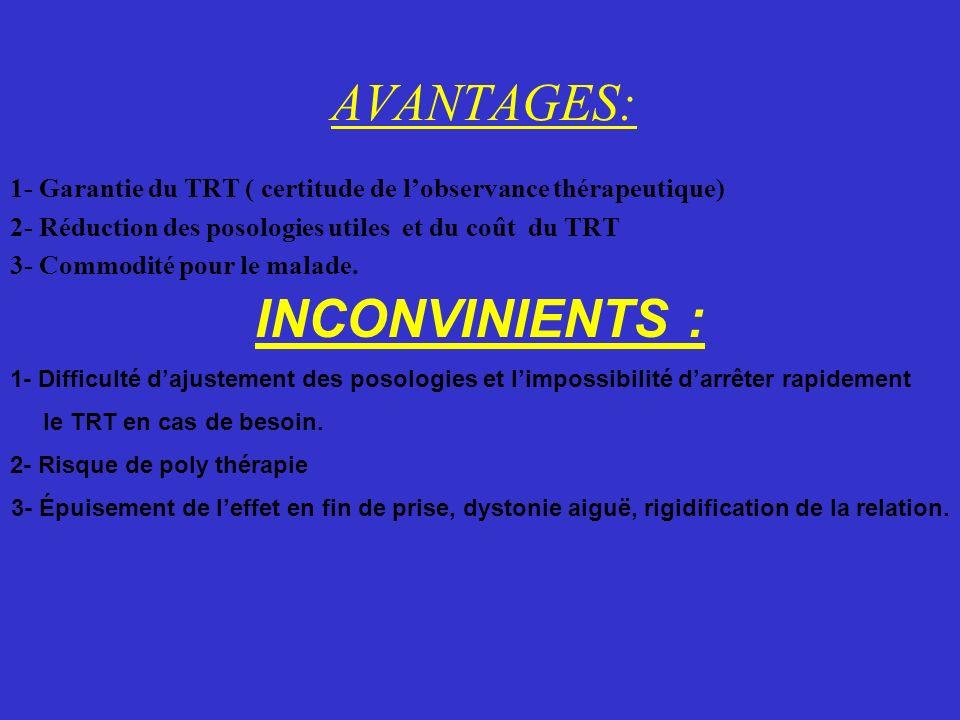 AVANTAGES: 1- Garantie du TRT ( certitude de lobservance thérapeutique) 2- Réduction des posologies utiles et du coût du TRT 3- Commodité pour le mala