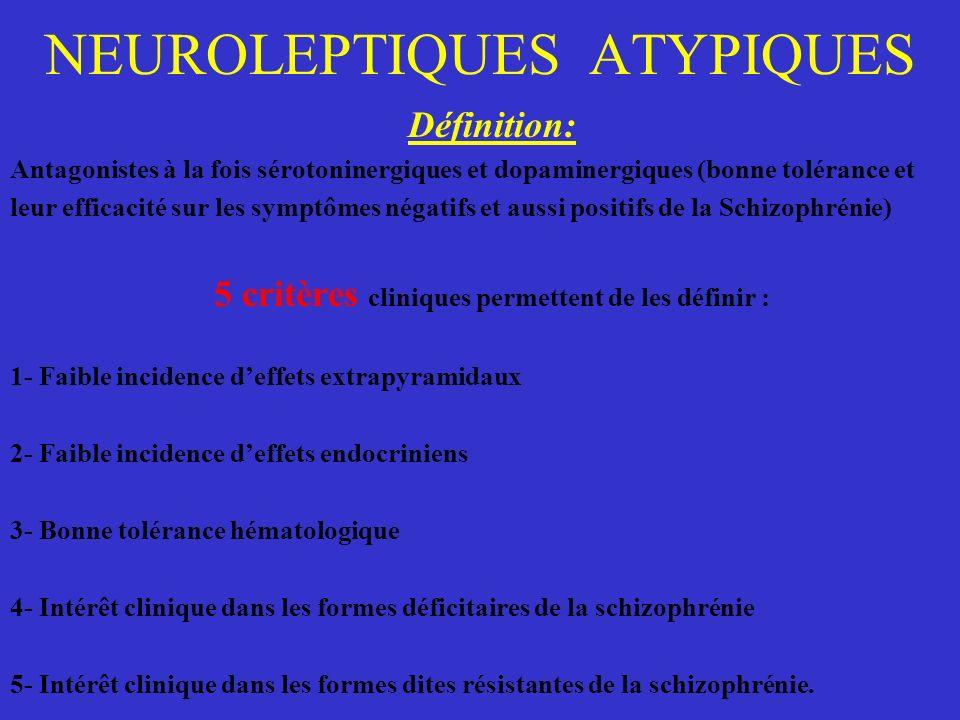 NEUROLEPTIQUES ATYPIQUES Définition: Antagonistes à la fois sérotoninergiques et dopaminergiques (bonne tolérance et leur efficacité sur les symptômes