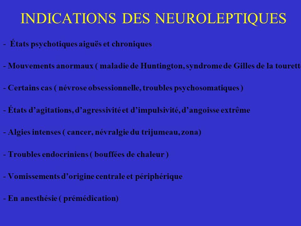 INDICATIONS DES NEUROLEPTIQUES - États psychotiques aiguës et chroniques - Mouvements anormaux ( maladie de Huntington, syndrome de Gilles de la toure