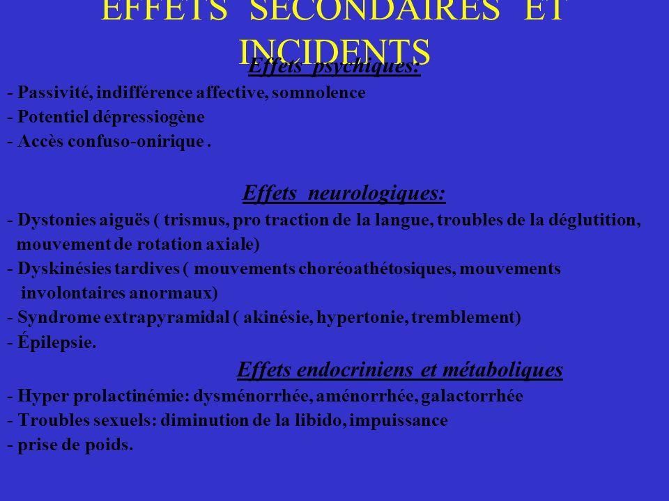 EFFETS SECONDAIRES ET INCIDENTS Effets psychiques: - Passivité, indifférence affective, somnolence - Potentiel dépressiogène - Accès confuso-onirique.