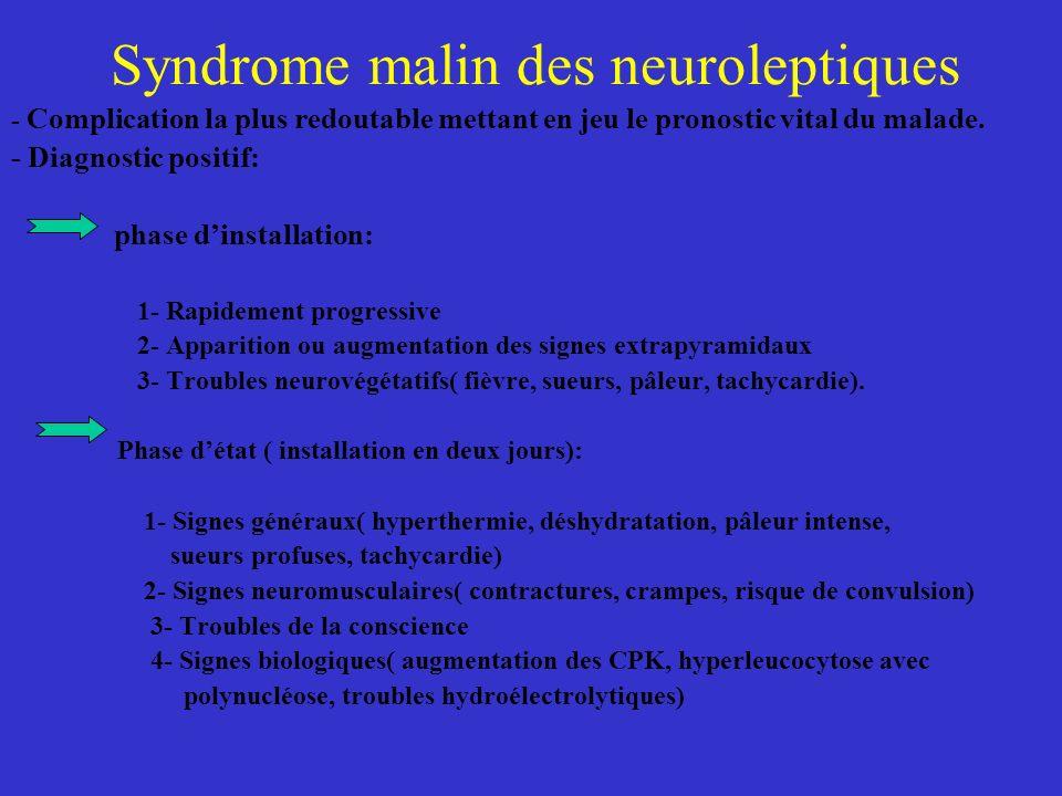 Syndrome malin des neuroleptiques - Complication la plus redoutable mettant en jeu le pronostic vital du malade. - Diagnostic positif: phase dinstalla