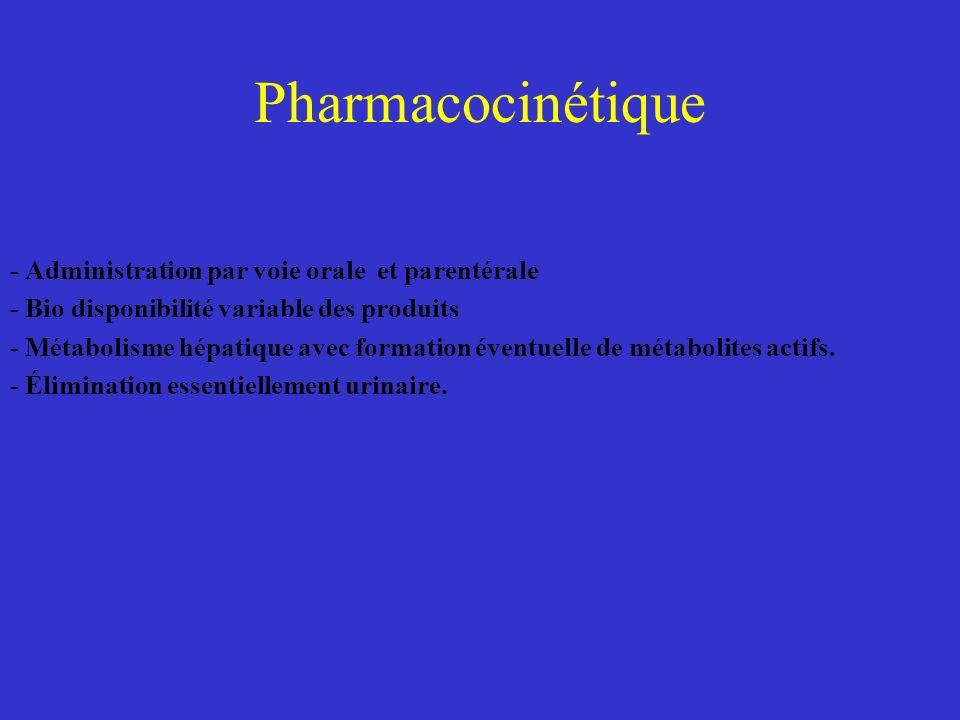 Pharmacocinétique - Administration par voie orale et parentérale - Bio disponibilité variable des produits - Métabolisme hépatique avec formation éven